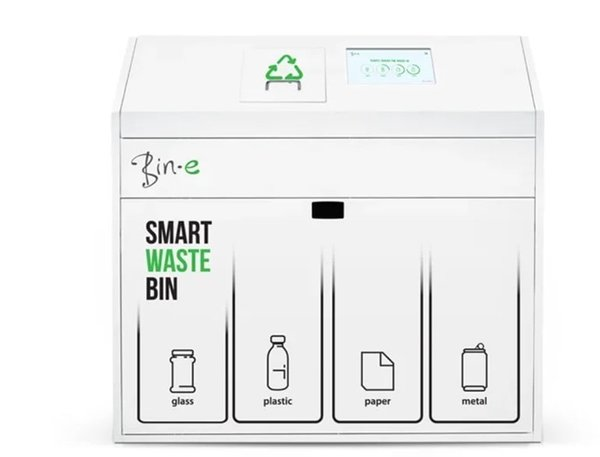Bin-E smart waste bin smart city solutions automatische afvalscheiding afvalmanagement systeem en data controlling kunstmatige intelligentie scan